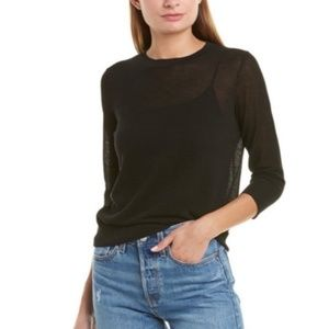 Vince semi sheer black pullover top size large